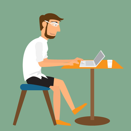 using computer: Cartoon man working with laptop on the desk