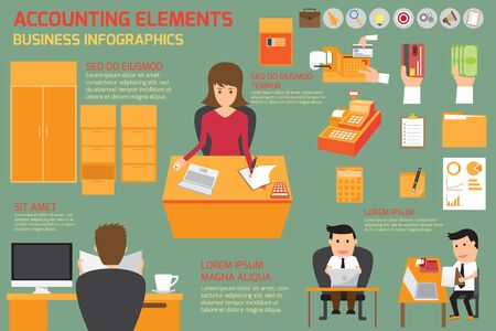 business contract: Accounting elements infographics illustration.