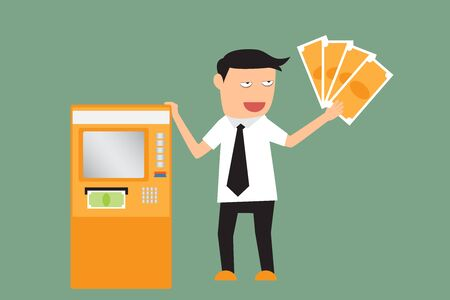 transferring: Businessman withdraws money from an ATM. vector illustration.