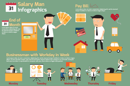 salary man: Salary man infographics elements. vector illustration. Illustration