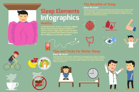 sleep infographics. tips and tricks for better sleep, benefits of sleep, vector illustration.