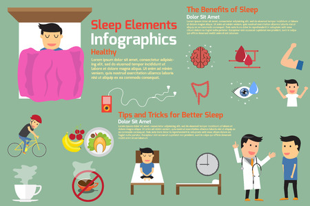 deprivation: sleep infographics. tips and tricks for better sleep, benefits of sleep, vector illustration.