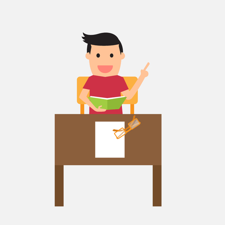 international students: Smiling young student preparing for exam, vector illustration.