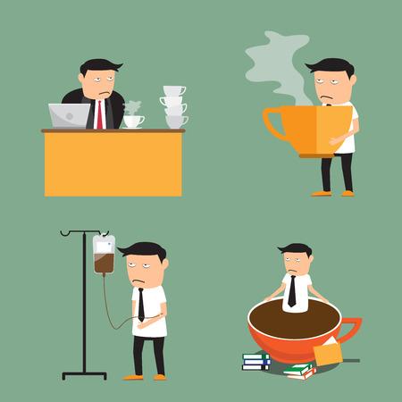 perezoso: elementos de adicción café. empresario necesita más café, ilustración vectorial. Vectores