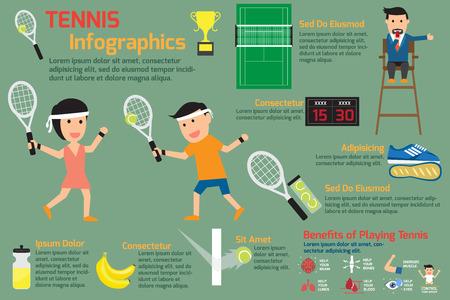 arbiter: Tennis infographics elements. vector illustration. Illustration