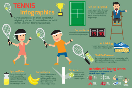 arbiter: Tennis infographics elements. vector illustration. Illustration