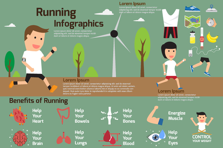 woman running: Benefits of Running Infographics, vector illustration. Illustration
