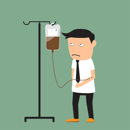 work addicted: Coffee Addiction. businessman need more coffee, vector illustration. Illustration