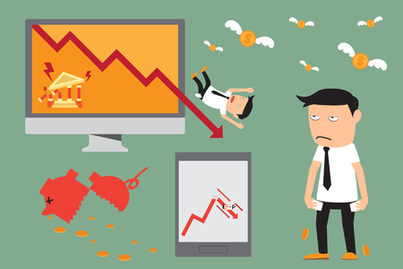 downturn: economic crisis elements. financial crisis. investment graph downturn. vector illustration.