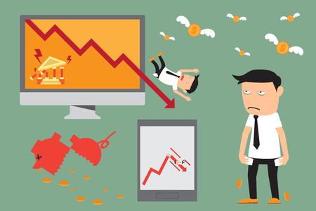 crisis economica: elementos de crisis económica. crisis financiera. inversión recesión gráfico. ilustración vectorial. Vectores