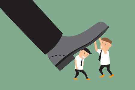 conflict: concepto de conflicto entre subordinado y jefe. batalla hombre de negocios con los pies grandes. ilustración vectorial.