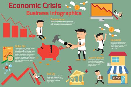 경제 위기 infographics 요소입니다. 금융 위기. 투자 그래프 침체. 벡터 일러스트 레이 션. 일러스트