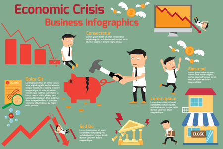 economic crisis infographics elements. financial crisis. investment graph downturn. vector illustration. Illusztráció