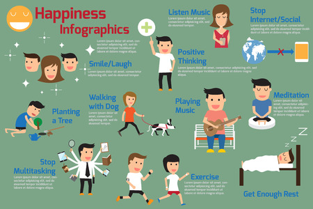 Happiness Infographics. How to Create Your Own Happiness. Keys to a Happy Life. vector illustration. Illustration