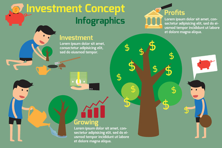 planting: Investment is like planting trees. Investment Concept Infographics. vector illustration. Illustration