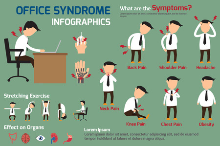 epaule douleur: Bureau infographies syndrome, illustration vectorielle.