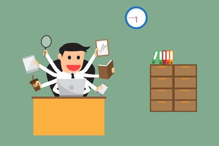person computer: businessman multitasking.