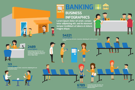 Banking infographics elements. Customers and staff people in bank.  Ilustração