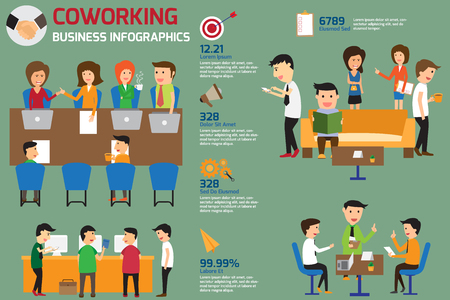 coworking business team infographics elements with business icons Illustration
