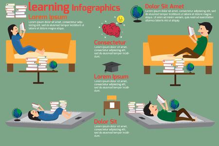 reading books: Learning and reading concept infographics with education icons. vector illustration.