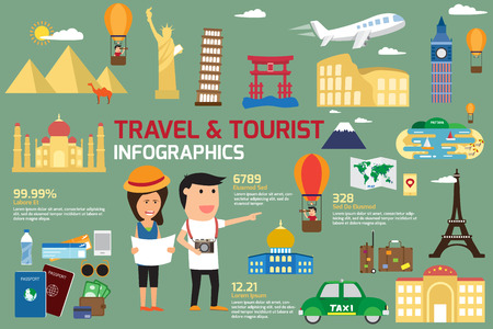 Travel and tourism infographic elements and world landmark icon. travel concept vector illustration. Vettoriali