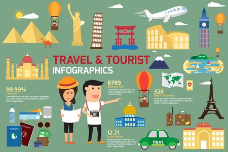 Elementos de viajes y turismo de infografía y icono del mundo hito. el concepto de viaje ilustración vectorial.