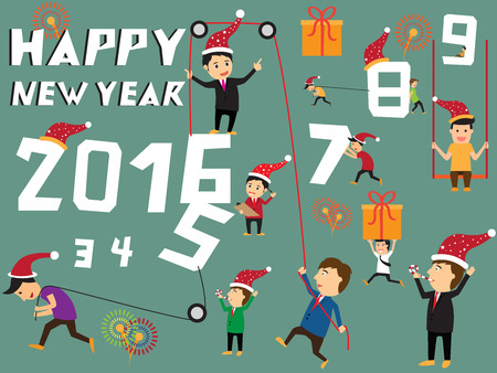 7 9 years: Happy new year concept, businessman try to pull number 2016, symbolizing an effort for progress in 2016, Businessman celebrating the new year. vector illustration.
