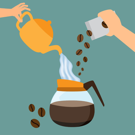 making coffee: Making coffee concept. hand pouring hot water and coffee bean into coffee pot. vector illustration.