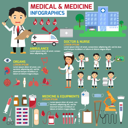 Medical and medicine infographics. healthcare concept vector illustration.