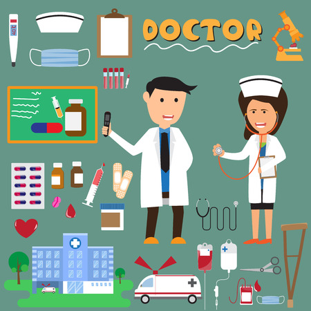 Doctor and nurse with medical icons. vector illustration.
