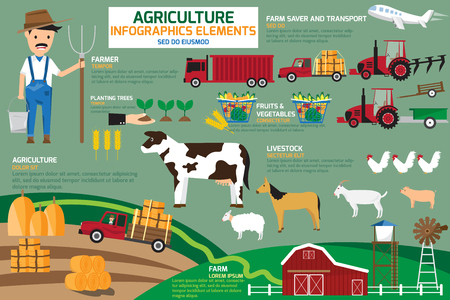Agriculture infographics elements. vector illustration. Vettoriali