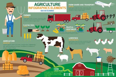 Infografías Agricultura elementos. ilustración vectorial.