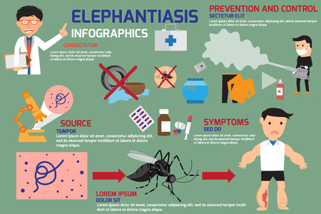 edema: Lymphatic Filariasis or Elephantiasis infographics elements, symptom, prevention and control with medical and medicine. vector illustration. Illustration
