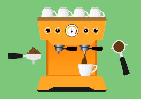 pot holder: Coffee machine with filter holder. vector illustration.