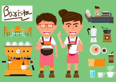 baristas: Barista man and woman with set of coffee and baristas equipment. vector illustration.