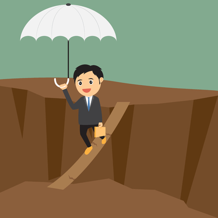 carefully: Businessman walking carefully across a very high tightrope with his umbrella for added protection. Illustration
