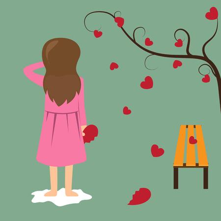 corazon roto: Muchacha triste Coraz�n rojo del asimiento roto. San Valent�n concepto de ilustraci�n.