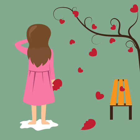 Sad girl hold red broken heart. valentine concept illustration. Illustration