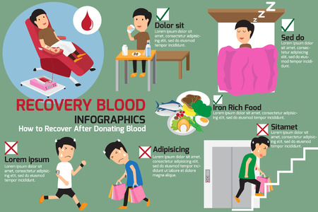 recovery: The recovery to after donating blood. donation blood concept vector illustration.