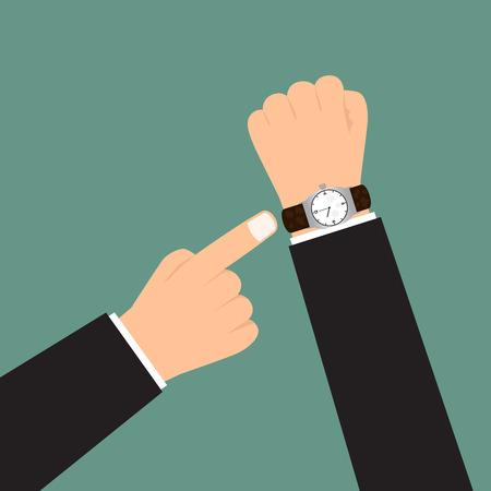 show time: Time management. hand show a deadline. vector illustration.