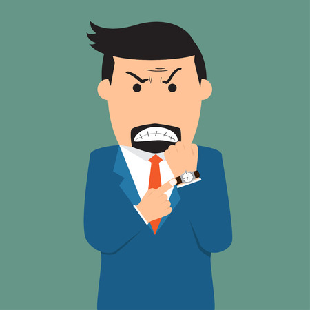 show time: businessman angry and show deadline to employee, time management concept vector illustration.