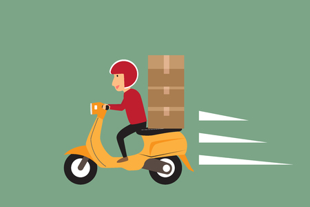 order shipping: Delivery concept. man ride scooter motorcycle service, order, shipping, fast and free transport. vector illustration. Illustration