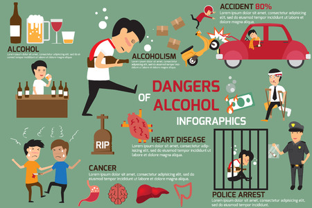cartoon bottle: Penalties and dangers of alcohol. Alcohol infographics elements. alcoholism, health care concept vector illustration.