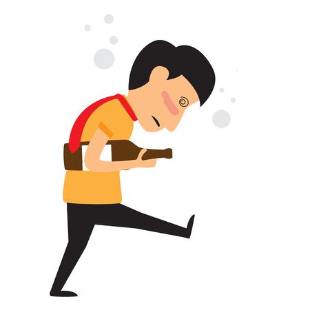 alcoholism concept. businessman drunk with alcohol bottle. Illustration