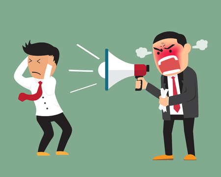 Angry boss shouting at employee on megaphone vector illustration. Çizim