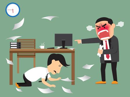 jefe enojado: jefe enojado el rodaje de su empleado en la fecha límite, empleado esquivar debajo de la mesa. ilustración vectorial.