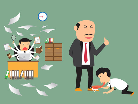happy employees: bad and good employee practice. Illustration