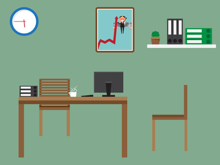 workspace: Workplace in office. workspace with table and computer. vector illustration.