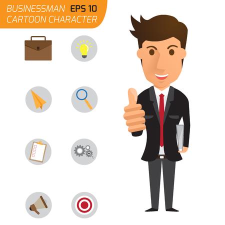 hombre de negocios feliz con los pulgares para arriba y los iconos de negocios. Ilustración del vector del carácter de dibujos animados.