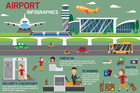 Airport business infographics template and travel element. vector illustration. Stock fotó